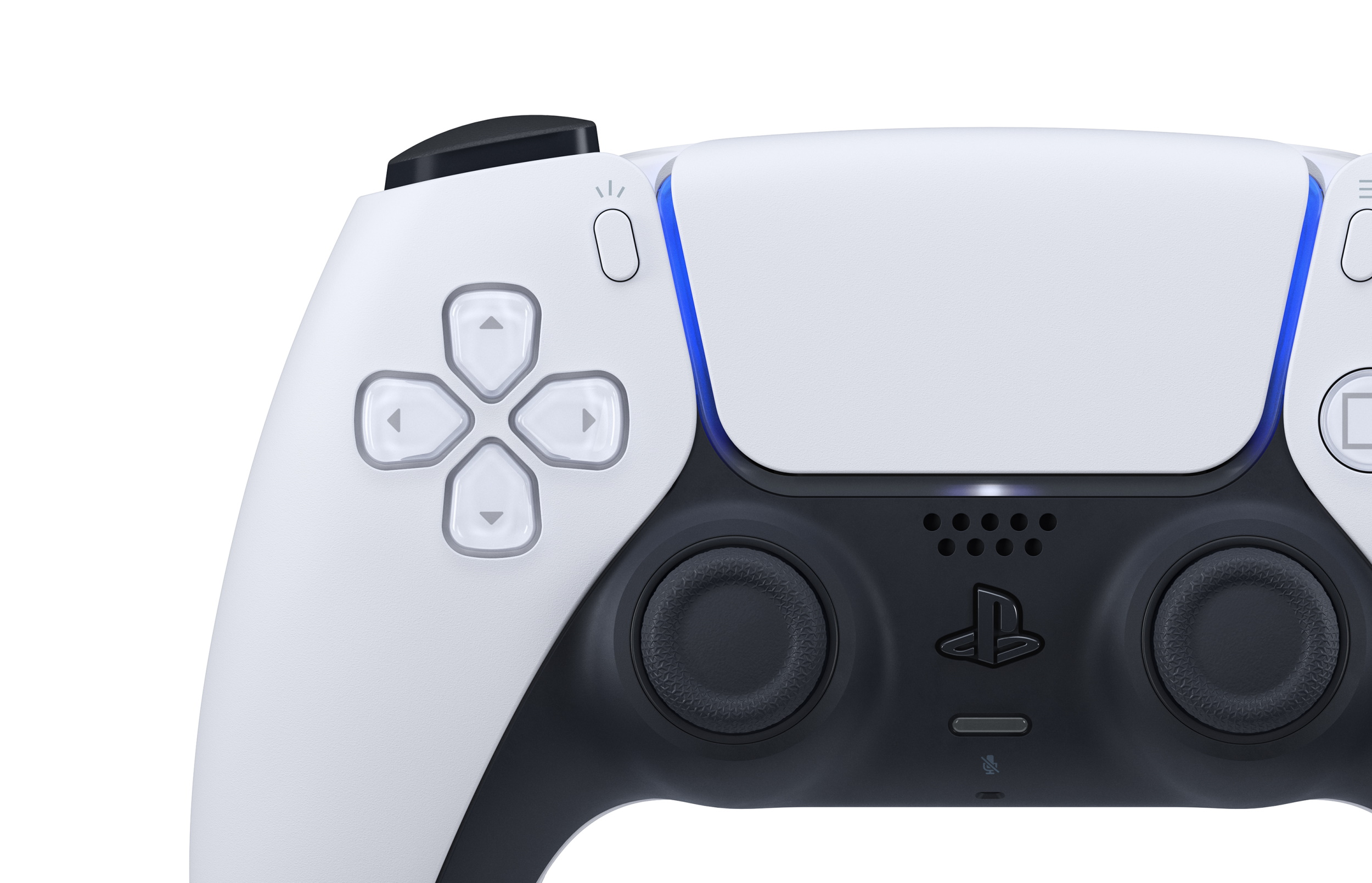A Sony DualSense controller seen from above.