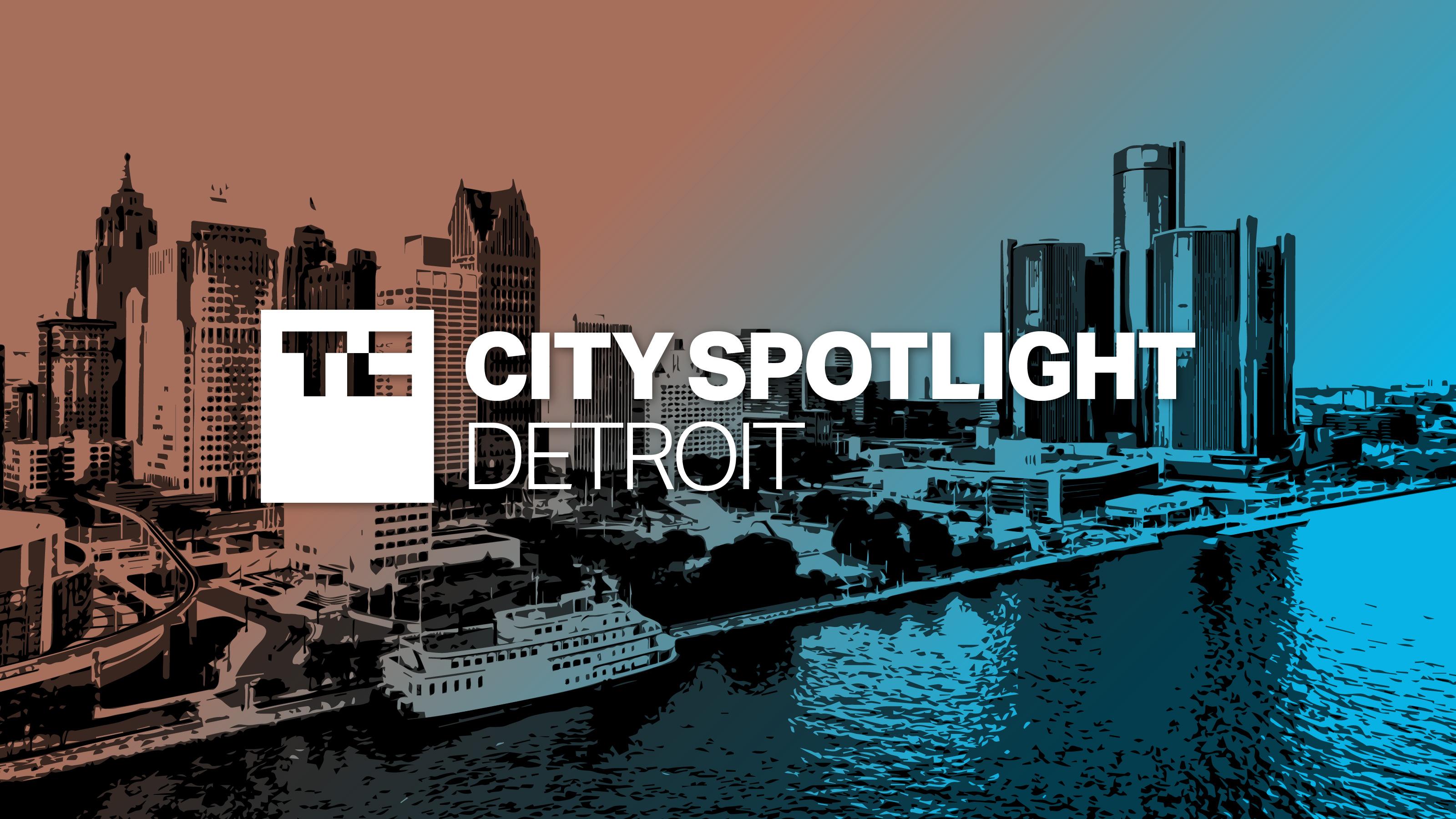 Detroit City Spotlight logo over photo illustration of downtown Detroit